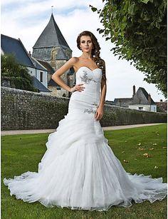 Trumpet/Mermaid Plus Sizes Wedding Dress - Ivory Chapel Train Sweetheart Organza – USD $ 179.99