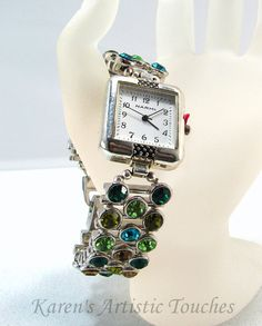 Green Crystal Bling Beaded Watch Magnetic Fold by ArtisticTouches
