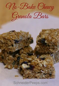 No Bake Chewy granola bars are the perfect snack to have around the house. They also freeze really well so you can make a bunch at a time.