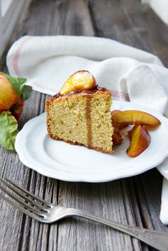 Pistachio Almond Cake with Brown Sugar Nectarines. Get the recipe at freshnewengland.com/fresh