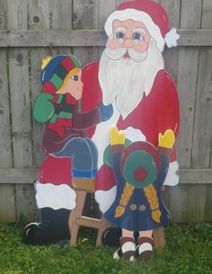 Christmas Santa Sittin' on Santa's Lap Wood Outdoor by chardoman