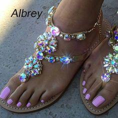 Rhinestones Flat Sandals – awashdress