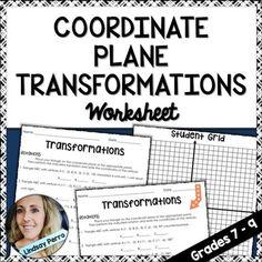 Coordinate Plane Transformations Worksheet with Manipulatives