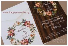 ΠΡΟΣΚΛΗΤΗΡΙΟ ΓΑΜΟΥ FLORAL – WOOD (FR W357) Wedding Invitations, Wedding Invitation Cards, Wedding Invitation, Save The Date Invitations, Wedding Invitation Design