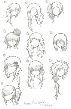 More manga/anime hair part - Anime-Frisuren - Anime Drawing Techniques, Drawing Tips, Drawing Reference, Drawing Sketches, Sketching, Drawing Ideas, Pelo Anime, Manga Anime, Manga Girl