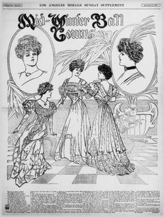 """""""Mid-Winter Ball Gowns,"""" Los Angeles Herald (Los Angeles, CA), January page Library of Congress, Chronicling America: Historic American Newspapers. Coloring Books, Coloring Pages, Shakespeare Plays, Gibson Girl, Gilded Age, Library Of Congress, Ball Gowns, January 6, Embroidery Ideas"""
