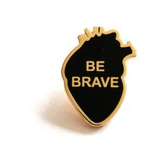 Rock Cakes Be Brave Enamel Heart Pin Badge ($11) ❤ liked on Polyvore featuring jewelry, brooches, pins, heart brooch, enamel jewelry, heart jewelry, rock jewelry and heart-shaped jewelry