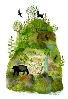Buy Diana Sudyka art--Image of Mossy Mountain - 8 x 10 inch Archival Inkjet Print (Giclée) Art And Illustration, Watercolor Illustration, Watercolor Art, Costume Africain, Art Design, Art Inspo, Illustrators, Book Art, Art Drawings