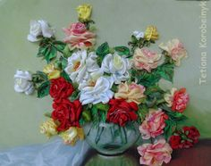 picture Roses  Silk ribbon embroidery by SilkRibbonembroidery, €100.00
