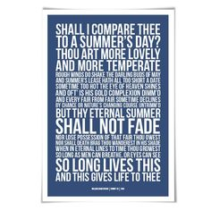 Sonnet 18 William Shakespeare Quote Poster. 60 Colours/3 Sizes. Poem Literary Art Romantic Love Literature