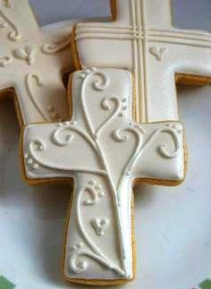 Shugar Deli | Boutique para Eventos en México, D.F. | Primera Comunión Cross Cookies, Fancy Cookies, Cute Cookies, Easter Cookies, Royal Icing Cookies, Cupcake Cookies, Christmas Cookies, Cupcakes, Baptism Desserts