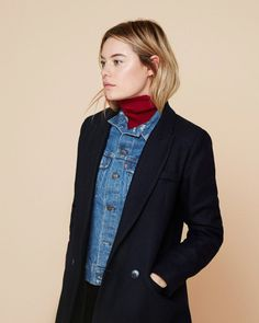 How to Layer for Spring 2017: Denim jacket outfit or jean jacket under a blazer - cute spring outfit ideas- transitional spring outfits, minimalist style, norm core, tom boy style, how to style a turtleneck