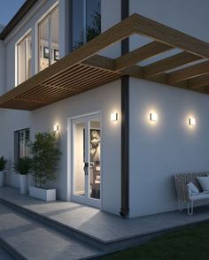 Pergola Ideas For Deck Outdoor Flush Mounts, Outdoor Wall Sconce, Outdoor Walls, Outdoor Lighting, Outdoor Decor, Lighting Ideas, Modern Lighting, Pergola Patio, Backyard Patio