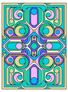 "Deco Tech Stained Glass Coloring Book, Dover Publications.  There is a blank coloring page of this on my other board ""Blank Coloring Pages."""