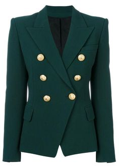 Hunter green Green Double breasted blazer Gold button Gold buttons on arms Runs small - size up (Small will fit XS and petite S) Long Green Jacket, Long Blazer Jacket, Look Blazer, Tailored Jacket, Suit Jacket, Balmain Jacket, Balmain Blazer Outfits, Military Style Jackets, Fashion Clothes