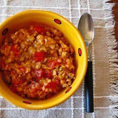Lentil and Chorizo Mulligan Stew - Slow Carb & Pesco Mediterranean - Farm to Jar Food Slow Carb Recipes, Slow Carb Diet, Scd Recipes, Lentil Recipes, Dessert Recipes, Desserts, Mulligan Stew, Winter Dishes, Lentil Stew