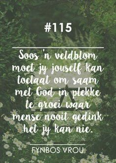 "__[Fynbos Vrou/FB] # 115 ""Soos 'n veldblom. Afrikaanse Quotes, Christian Devotions, Faith Hope Love, Religious Quotes, Spiritual Growth, Positive Thoughts, Beautiful Words, Inspirational Quotes, Motivational"