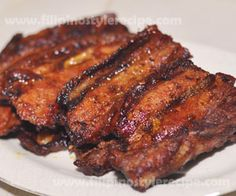 Grilled pork belly or inihaw na liempo is another simple and popular mouth-watering grilled dish. This is usually made of pork belly(liempo) marinated then grilled until done. Serve with soy sauce, calamansi juice and red chili then usually served as finger food or pulutan.