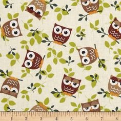 Tossed Owls Khaki/Wine/Sage Fabric By The Yard: This cotton print is perfect for quilting apparel and home decor accents. Colors include white black gold chocolate taupe and shades of green. Baby Sewing Projects, Sewing Crafts, Nursery Curtains, Fabric Animals, Throw Pillows Bed, Fabulous Fabrics, Nursery Prints, Fabric Patterns, Sewing Patterns