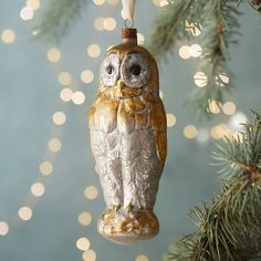 Winter Owl Glass Ornament in HOLIDAY Ornaments at Terrain