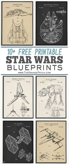 Free Printable Star Wars Blueprints These awesome Star Wars blueprints are perfect for the Star Wars fan in your life! As always, these Star Wars printables are free! Star Wars Cute, Theme Star Wars, Star Wars Baby, Star Wars Font, Star Wars Kids, Star Trek, Star Wars Poster, Tie Fighter, Millennium Falcon