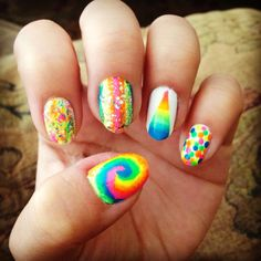 crazy rainbow nail art