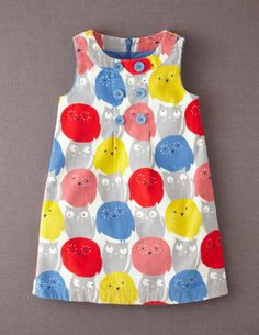 Button Pinafore Dress 33258 Dresses at Boden