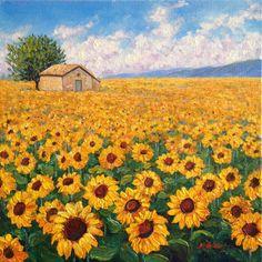 Sunflower Field original oil painting by MisunHoldorfStudio