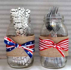 red white and blue mason jars- home decor, fourth of july decor, patriotic decor on Etsy, $14.00