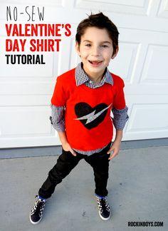Easy No-sew Valentine's Day T-shirt - Rockin' Boys Club