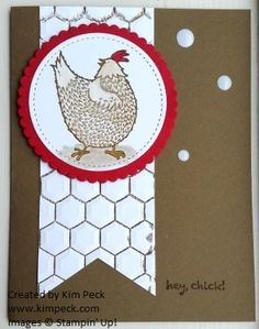 Hey Chick Card using inked Hexagon folder to make chicken wire.