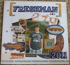 Layout using Little Yellow Bicycle's Zach's Life. I love this line for teen boys! School Scrapbook Layouts, Scrapbooking Layouts, Scrapbook Pages, Little Yellow Bicycle, School Sports, Study Hard, Teen Boys, Page Layout, Freshman