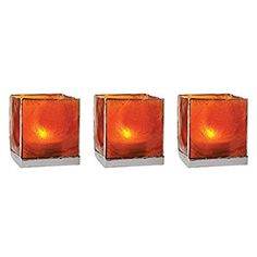 Luna Bazaar Capiz Cube Candle Holders (3-Inch, Mango Orange & Silver, Silver-Edged, Set of 3) - For Use with Tea Lights - For Home Decor, Parties, and Wedding Decorations