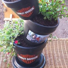Instagram : Staciescustomcrafts Creative gifts for every occasion. Sports themes / family / friends / party's/Custom / Harley Davidson planter