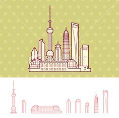 Shanghai, China Cityscape Skyline Royalty Free Stock Vector Art Illustration