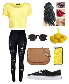 """When life gives you lemons you squirt them in someones eyes.☺"" by blessed-with-beauty-and-rage ❤ liked on Polyvore featuring Pilot, Vans, MICHAEL Michael Kors, Pier 1 Imports, Casetify and Christian Dior"