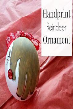 Make this cute handprint Reindeer ornament for the holidays. #HuggiesForHolidays AD @huggies