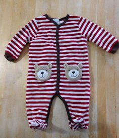 a06336097d69 Boys MUD PIE ONE piece PANTS ROMPER OUTFIT size 0-3-6 mo. RED WHITE STRIPED  BEAR  fashion  clothing  shoes  accessories  babytoddlerclothing ...