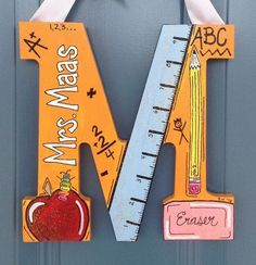 For Teacher Painted Wooden Letter by theRedheadedArtistGift For Teacher Painted Wooden Letter by theRedheadedArtist Back to School Gifts - Classroom Decor -Teacher Gifts - Classroom Door Hangers - Teacher Appreciati Teacher Themed Letter Painting Wooden Letters, Diy Letters, Letter A Crafts, Painted Letters, Letter Art, Letter To Teacher, Teacher Signs, Best Teacher Gifts, Teacher Appreciation Gifts