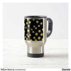 Yellow Stars Travel Mug #Yellow #Stars #Astronomy #Space #Travel #Coffee #Tea #Chai #Mug