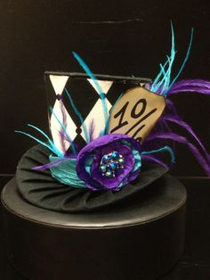 Purple and Teal Mad Hatter Mini Top Hat. Great by daisyleedesign