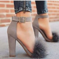 Pointed Toe Chunky Heel Pumps with Fur Heeled Boots, Shoe Boots, Shoes Heels, Grey Heels, Ankle Strap Heels, Shoes Sneakers, Pretty Shoes, Beautiful Shoes, Crazy Shoes
