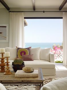 coffee table, view, curtains, neutral colors by the beach