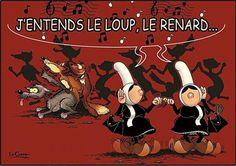 Carte postale mam goz j entends le loup le renard et la belette Funny Slogans, Humor, Travel Style, Brittany, Photos, Comics, Books, Inspiration, Poop Jokes