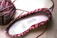 The genius of this project is to use shoe inserts as the soles of the slippers. Punch small holes around the edges to star your crocheting – Why didn't we think of this sooner?!   …