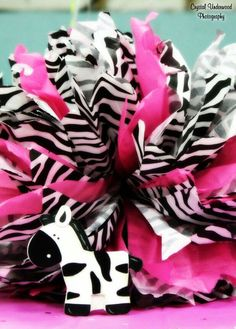 Zebra Table decorations - baby shower
