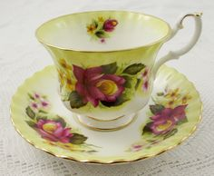 Royal Albert Yellow Tea Cup and Saucer with Pink by TheAcreage