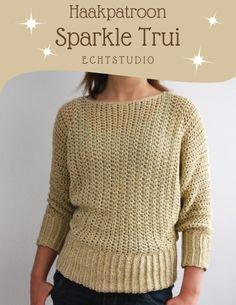 Haakinformatie | Haakpatroon Sparkle Trui • Trui haken • Haakinformatie Crochet Shawl, Crochet Clothes, Weaving, Pullover, Embroidery, Knitting, Crochet Ideas, Clothing Ideas, Sweaters