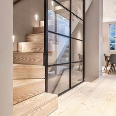 We really think the Douglas floor and stair treads help create a nice and calm contrast against the steel-framed glass wall in this London… Modern Staircase, Staircase Design, Staircase Ideas, Hallway Ideas, Modern Stairs Design, Staircase Glass, Stair Design, Staircase Remodel, Modern Hallway