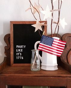 vignette with letterboard, milk glass and ironstone pitcherFourth of July vignette with letterboard, milk glass and ironstone pitcher You're my Firecracker wood sign with decorative wood 'Merica Patriotic Wooden Sign Fourth Of July Decor, 4th Of July Celebration, 4th Of July Decorations, 4th Of July Party, July 4th, Fourth Of July Chalkboard, Fourth Of July Quotes, Independance Day, Shops